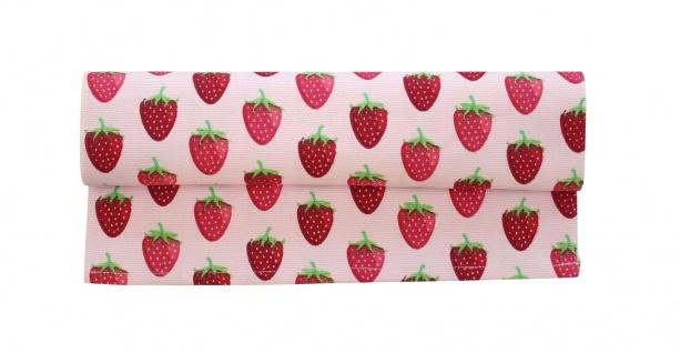 Krasilnikoff Tischläufer ERDBEERE Rosa 35x140 Baumwoll Tischdecke rote Erdbeeren