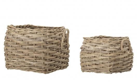 Bloomingville Ratten Korb Set Eckig mit Griffen 2 Körbe Wäschekorb Pflanzenkorb