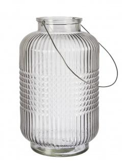 Affari Windlicht Laterne ANJA Grau 38 cm Glas Deko Gartenlaterne Tischdeko Vase