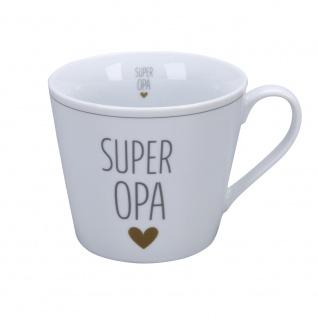 Krasilnikoff Happy Cup Becher SUPER OPA mit HERZ Gold Kaffeebecher 300 ml Tasse