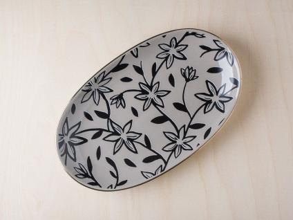 Bloomingville HANNAH Teller oval grau Keramik Goldrand Blumen Kuchenteller