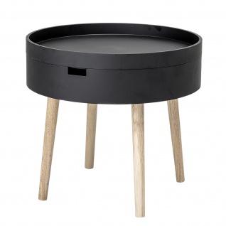 Bloomingville Beistelltisch Schwarz mit Stauraum 50 cm Tisch rund Coffee Table