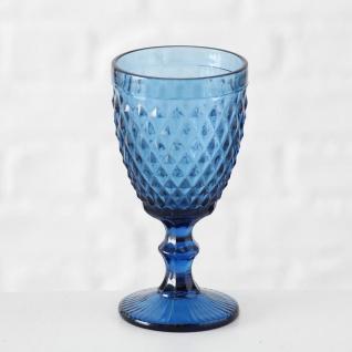 Weinglas Milano 250 ml Rauten blau Trinkglas blaues Glas 17 cm