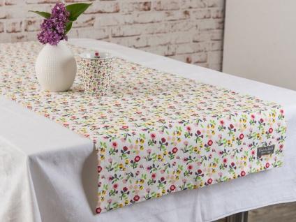 Krasilnikoff Tischläufer MILLE FLEURS Weiß Bunte Blumen Tischdecke 50x150