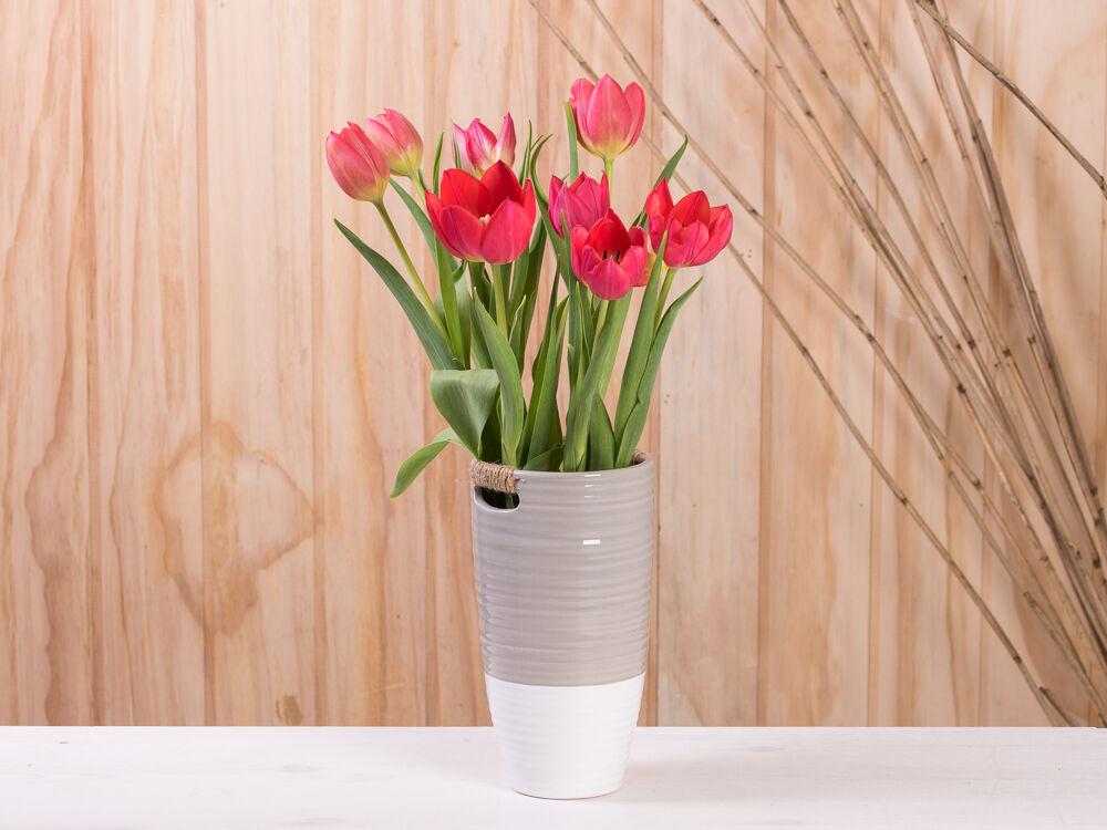 Vase ELLA taupe weiß 20 cm Keramik Blumenvase Skandinavische Deko