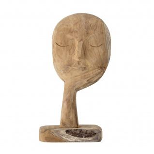 Bloomingville BÜSTE mit HAND Skulptur Braun Gesicht Deko Figur Holz Unikat 35 cm