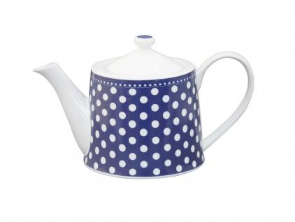 Krasilnikoff Teekanne PUNKTE Dunkelblau Porzellan Geschirr 1 Liter Kanne blau