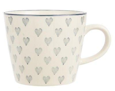 IB Laursen Tasse Herz creme weiß Graue Herzen weißer Becher Henkel Herz grau