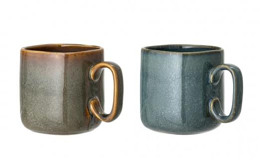 Bloomingville Becher AIME 2er Set Blau Braun Keramik Geschirr Tasse Kaffeebecher