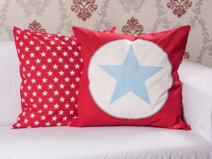 Krasilnikoff Kissenhülle 50x50 STERN Rot blau Kissenbezug Sterne weiß Kissen