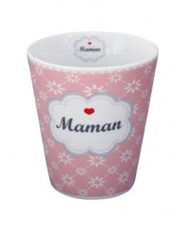 Krasilnikoff Happy Mug Becher MAMAN Rosa pink Blumen weiß Herz rot Mama