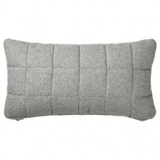 Bloomingville Kissen Wolle hellgrau Muster Quadrate mit Füllung 30x60