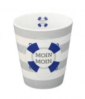 Krasilnikoff Becher Happy Mug MOIN MOIN Tasse Porzellan Maritim Streifen Grau
