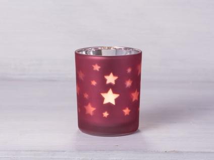 Windlicht Sterne rot Teelichthalter rot matt mit Sternen Teelicht Glas - Vorschau 1