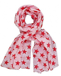 Krasilnikoff Halstuch Sterne, rosa Schal, rote Sterne, Tuch Baumwolle