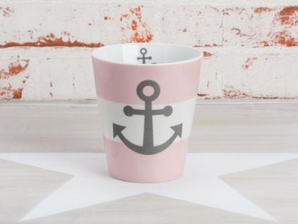 Krasilnikoff Becher Happy Mug ANKER rosa maritim Tasse Porzellan Kaffeebecher