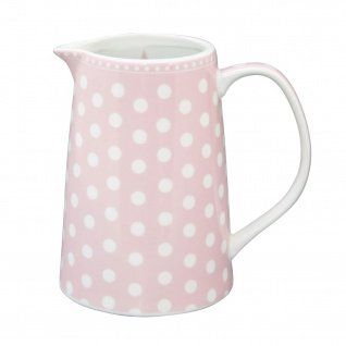 Krasilnikoff Krug PUNKTE Rosa Porzellan Karaffe Kanne Saftkrug gepunktet pink
