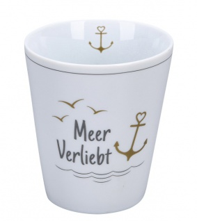 Krasilnikoff Becher Happy Mug MEER VERLIEBT ANKER Gold Kaffeebecher 250 ml Tasse