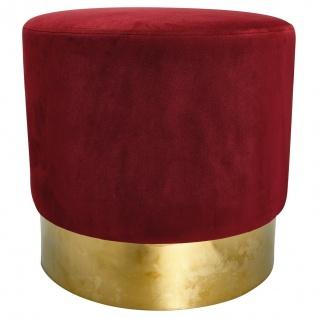 GreenGate Hocker Bordeaux Rot Fuß Gold Gate Noir Pouf Samt Stuhl 42 cm Sockel