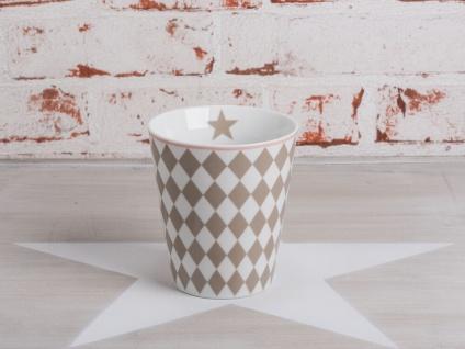 Krasilnikoff Happy Mug Becher HARLEKIN Taupe Rauten Muster sand weiß Stern