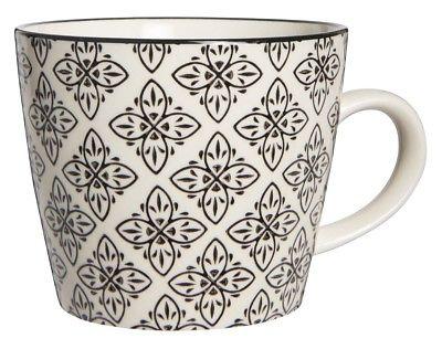 IB Laursen Tasse Casablanca schwarz weiß Blumen Keramik Geschirr Becher