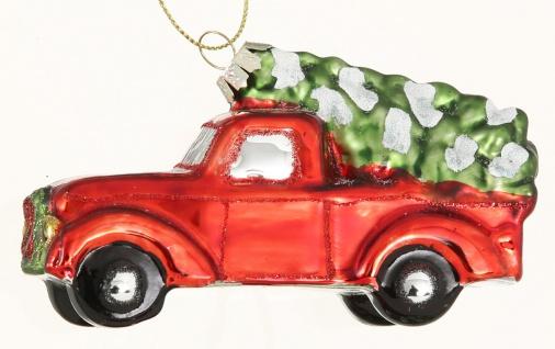 Tannenbaum Hänger Auto mit Baum auf Dach Rot PICK UP 11 cm Glas Vintage Design