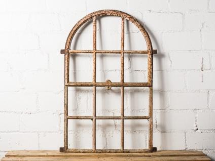 Antik Stallfenster Rundbogen Alt Kippbar Metall Fenster Deko Objekt 60x89 cm