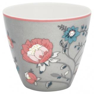 Greengate Latte Cup SIENNA GrauBLUMEN Rot Porzellan Kaffeebecher 300 ml