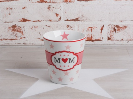 Krasilnikoff Happy Mug Becher MOM weiß Sterne rosa Herz rot Porzellan 250 ml