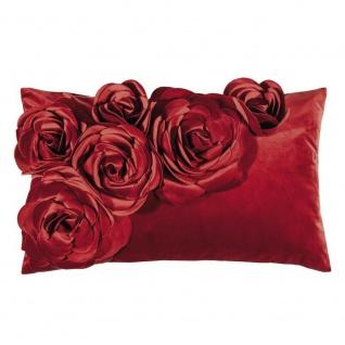 Pad Kissen FLORAL Rot Blumen Kissenhülle Samt Kissenbezug Rote Rosen 30x50