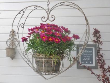 Pflanztopf Hänger HERZ 60 cm Blumenampel Blumentopf Hänger Vintage Metall Ampel