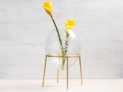 A Simple Mess Vase Ronda Glas mit Gravur Blumenvase Rund Gold Ständer 21cm groß