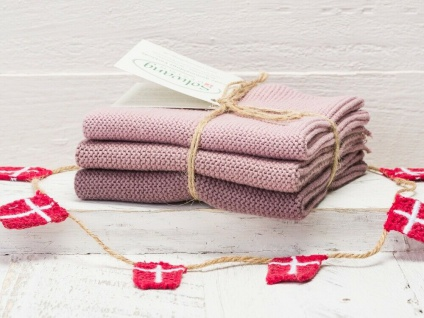 Solwang Wischtuch STAUBIG ROSA KOMBI gestrickt 3er Set Küchentuch Putztuch