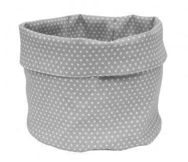 Krasilnikoff Brotkorb Micro Punkte Grau Baumwolle Hellgrau Weiß gepunktet 20x22