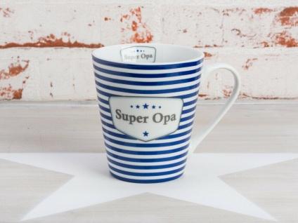 Krasilnikoff Happy Mug SUPER OPA Henkel Becher Stern Streifen Sterne