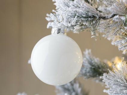 Weihnachtskugel LINDA weiß glänzend Weihnachtsdeko Tannenbaumschmuck Weihnachten