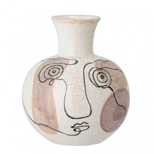 Bloomingville Vase Creme Weiß mit Gesicht Art Design 22 cm Keramik Blumenvase