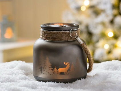 Windlicht WINTERWALD mit Kordel grau 12 cm Hirsch Motiv Glas