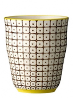Bloomingville Carla Becher braun weiß Muster Keramik Tasse 9, 5 cm