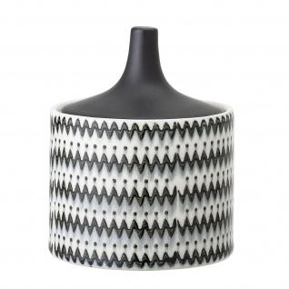 Bloomingville Dose mit Deckel Schwarz Weiß 380ml Keramik Vorratsdose Schmuckdose