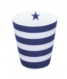 Krasilnikoff Happy Mug Becher STREIFEN Blau weiß Stern dunkelblau navy