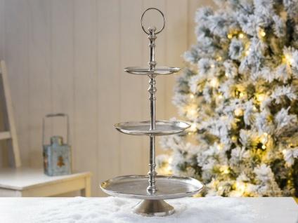 Etagere GALA 48 cm Rund Metall Silber 3 Etagen Tischdeko Hochzeitsdeko