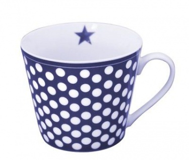 Krasilnikoff Happy Cup Henkel Becher BIG DOTS Dunkelblau PUNKTE Tasse Porzellan