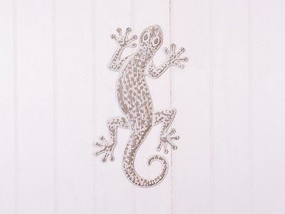 Deko Wand Objekt Gecko, Metall Bild Tiere Wandbild