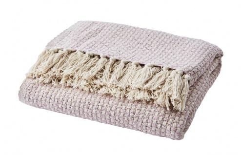 Affari Decke ANNA Rosa Recycelt Baumwolle 125x165 Wolldecke Kuscheldecke