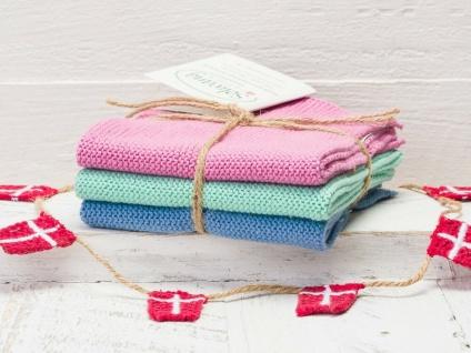 Solwang Wischtuch ROSA PETROL BLAU KOMBI gestrickt 3er Set Küchentuch Putztuch