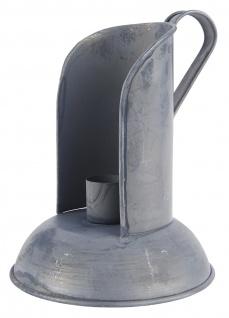 IB Laursen Kerzenhalter mit Windschutz Grau Kerzenständer Metall Rund 11x14 cm