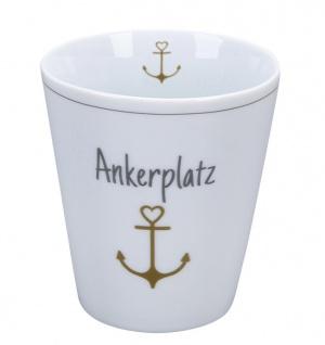 Krasilnikoff Becher Happy Mug ANKERPLATZ ANKER Gold Kaffeebecher 250 ml Tasse