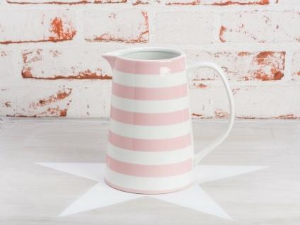 Krasilnikoff Krug STREIFEN Rosa Kanne weiß pink gestreift Porzellan Karaffe 850m