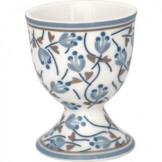 Greengate Eierbecher ADDISON Weiß Blau mit BLUMEN Porzellan Geschirr